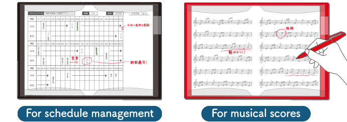 For schedule management For musical scores