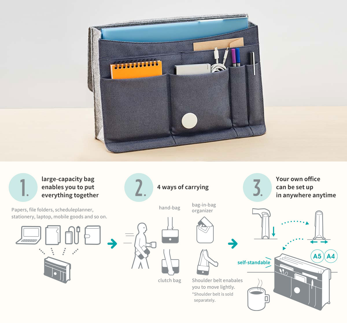 1.large-capacity bag enables you to put everything together 2.4 ways of carrying 3.Your own office can be set up in anywhere anytime