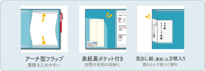 アーチ型フラップ 書類を入れやすい 表紙裏ポケット付き 封筒や名刺の収納に 見出し紙(裏面)は方眼入り 書き込んで使えて便利