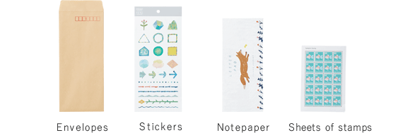 Envelopes Stickers Notepaper Sheets of stamps