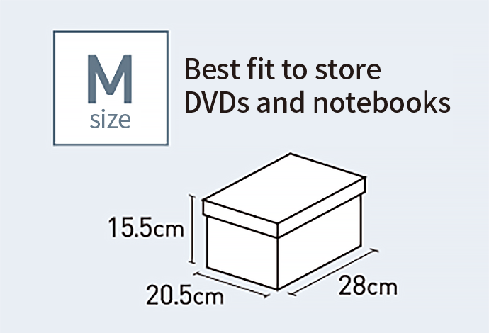 M size Best fit to store DVDs and notebooks 20.5cm 15.5cm 28cm