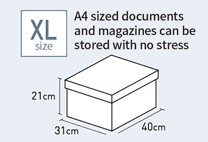 XL size A4 sized documents and magazines can be stored with no stress 31cm 21cm 40cm